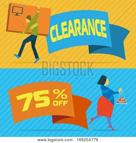 Sale banners with shopping people vector illustration. Price clearance concept, super sale promo, discount proposition, retail advertisement template. Young people shopping in mall poster in flat. Discount banner with special offer. Sale offer ads.