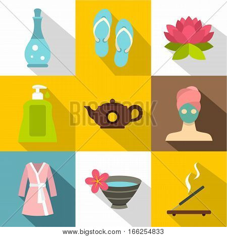 Relaxation icons set. Flat illustration of 9 relaxation vector icons for web