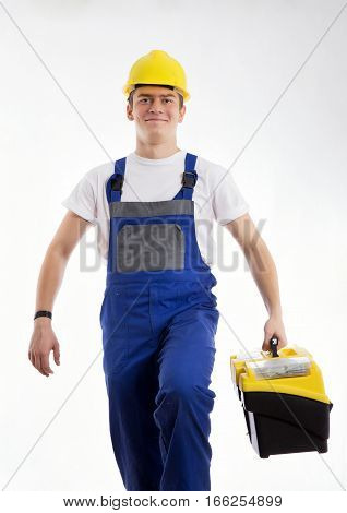 Builder with a bag of tools is going to work