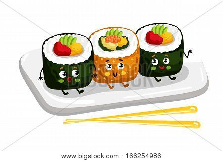 Cute sushi roll set on plate cartoon character isolated on white background vector illustration. Funny japanese seafood sushi emoticon face icon. Happy smile cartoon face food, comical sushi roll