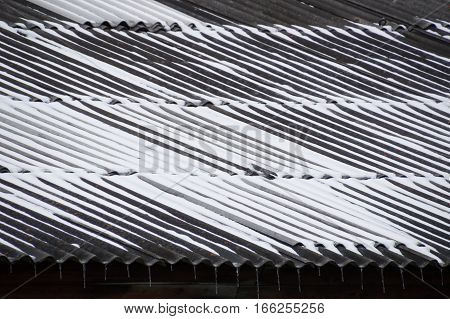 Close up of a corrugated metal roof on a house in Siberia. Snow is in the troughs and icicles hang from the eaves. Photographed in Listvyanka.