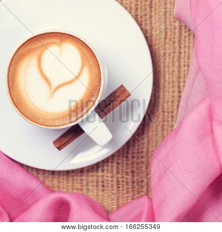 Coffee With Pink Scarf. Valentines Concept. Rustic Style. Flat Lay View.
