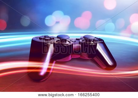 View of video game controller wireless equipment