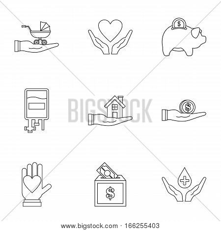 Charity icons set. Outline illustration of 9 charity vector icons for web