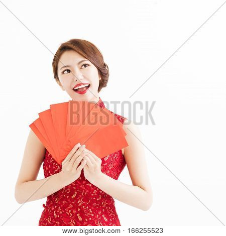 happy chinese woman showing Red envelopes and thinking
