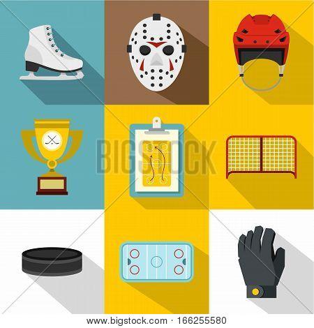 Canadian hockey icons set. Flat illustration of 9 canadian hockey vector icons for web
