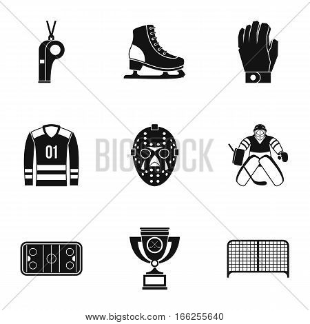 Canadian hockey icons set. Simple illustration of 9 canadian hockey vector icons for web