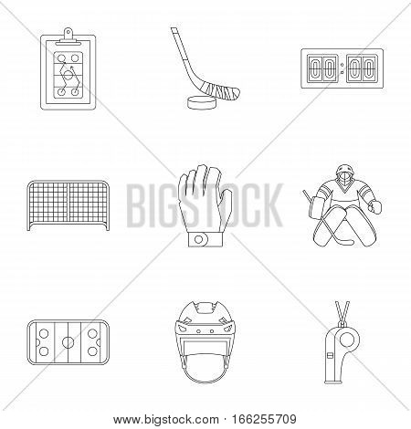 Ice fight icons set. Outline illustration of 9 ice fight vector icons for web
