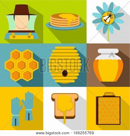 Apiary icons set. Flat illustration of 9 apiary vector icons for web