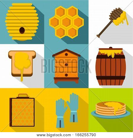 Beekeeping icons set. Flat illustration of 9 beekeeping vector icons for web