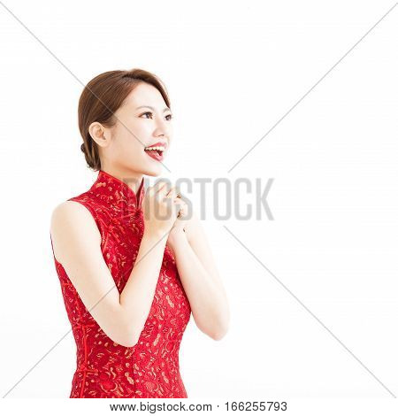 happy chinese new year woman with congratulation gesture