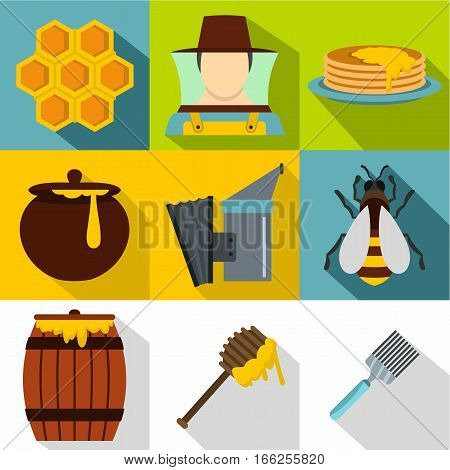 Beekeeping farm icons set. Flat illustration of 9 beekeeping farm vector icons for web
