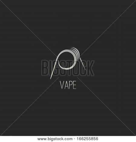 Vapor Coil Silhouette Logo Template. Isolated in Black Background.