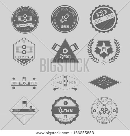 Set of Hipster Vapor Coil Emblems, Logos, Icons, or Badges
