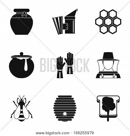 Beekeeping farm icons set. Simple illustration of 9 beekeeping farm vector icons for web