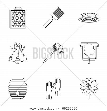 Apiary icons set. Outline illustration of 9 apiary vector icons for web