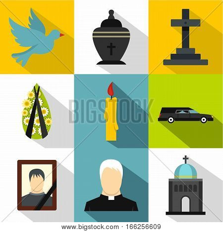 Funeral services icons set. Flat illustration of 9 funeral services vector icons for web