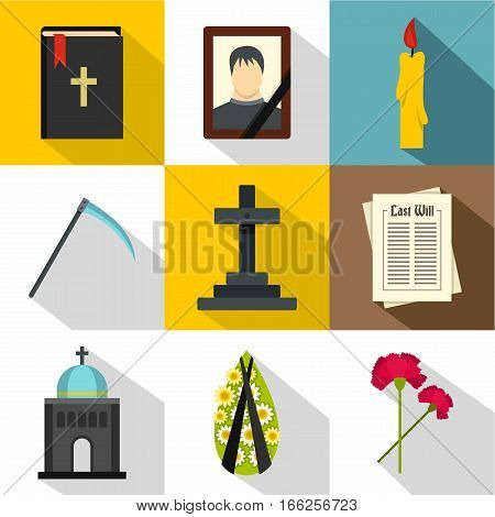 Death of person icons set. Flat illustration of 9 death of person vector icons for web
