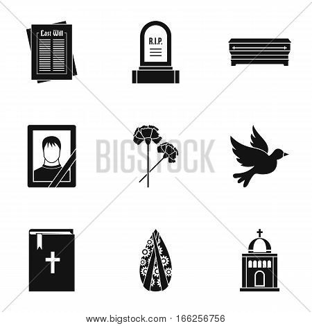 Death icons set. Simple illustration of 9 death vector icons for web