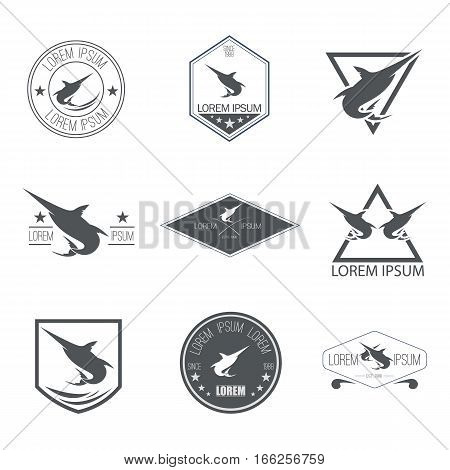 Set of Hipster Marlin Fish Emblems, Badges, Logos, or Icon