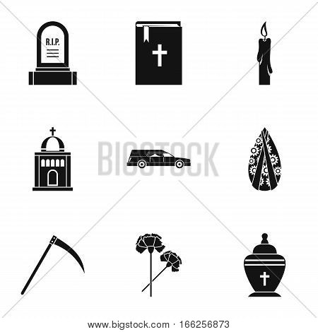 Funeral icons set. Simple illustration of 9 funeral vector icons for web