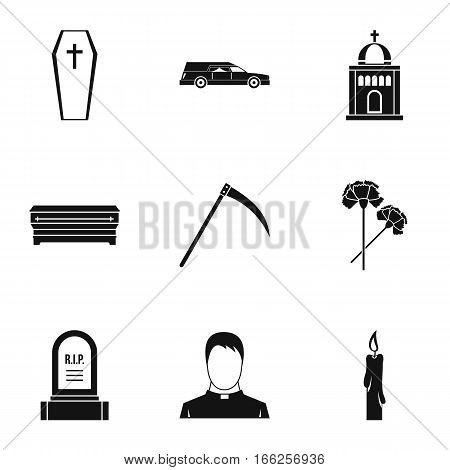 Death of person icons set. Simple illustration of 9 death of person vector icons for web