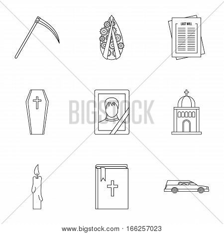 Funeral icons set. Outline illustration of 9 funeral vector icons for web