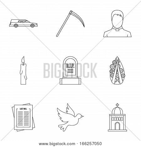 Burial icons set. Outline illustration of 9 burial vector icons for web