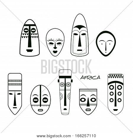 African Mask Icons. Line Art. Set of African Ethnic Tribal Masks