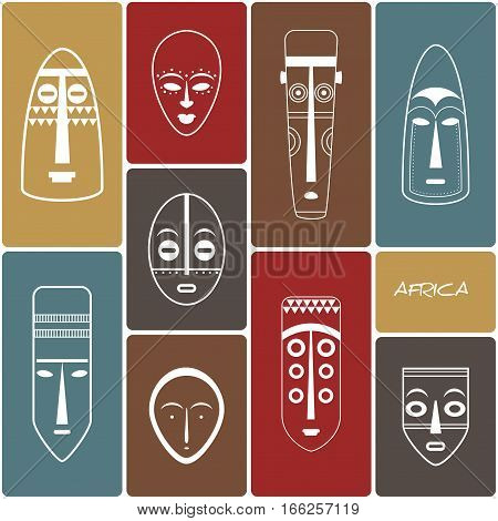 African Mask Icons. Line Art. Set of African Ethnic Tribal Masks.