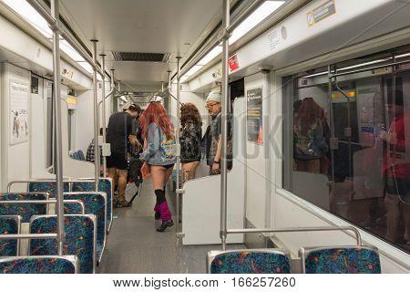 Participants Without Pants Entering The Subway