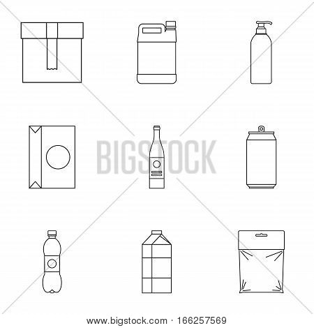 Pack icons set. Outline illustration of 9 pack vector icons for web