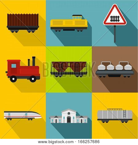 Electrical train icons set. Flat illustration of 9 electrical train vector icons for web