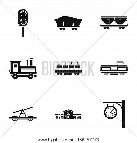 Iron way road icons set. Simple illustration of 9 iron way road vector icons for web