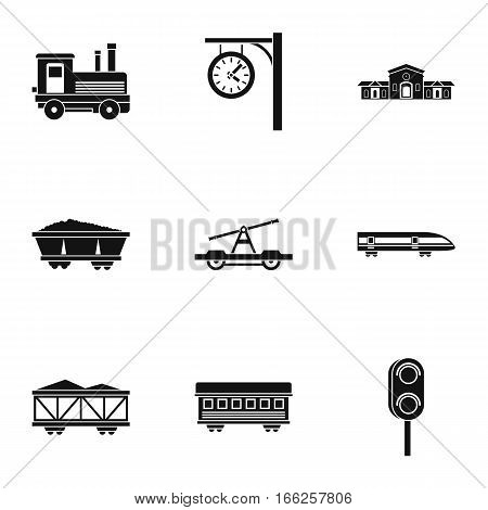 Electrical train icons set. Simple illustration of 9 electrical train vector icons for web