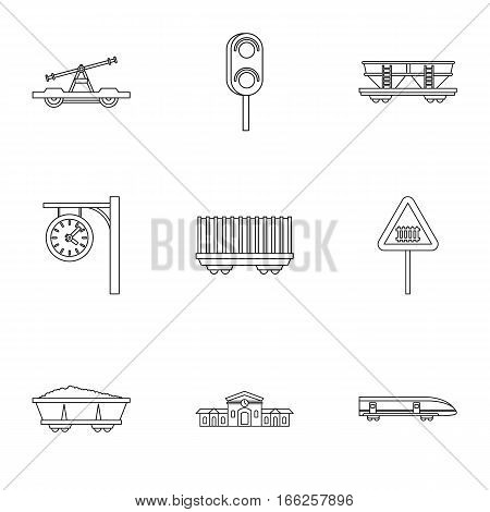 Iron way road icons set. Outline illustration of 9 iron way road vector icons for web