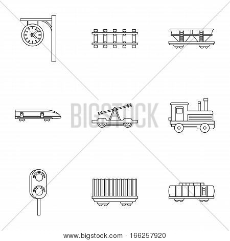 Electrical train icons set. Outline illustration of 9 electrical train vector icons for web