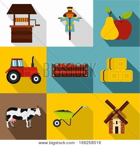 Ranch icons set. Flat illustration of 9 ranch vector icons for web