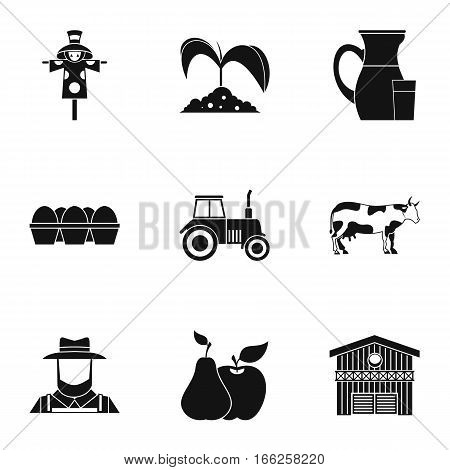 Ranch icons set. Simple illustration of 9 ranch vector icons for web