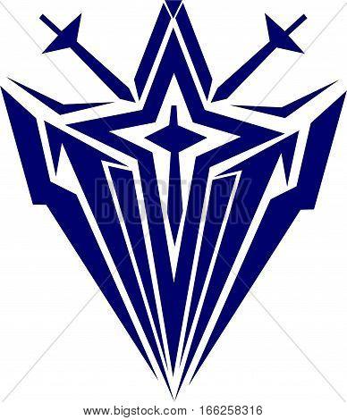 Blue Summoner Two Sword Logo Art Design