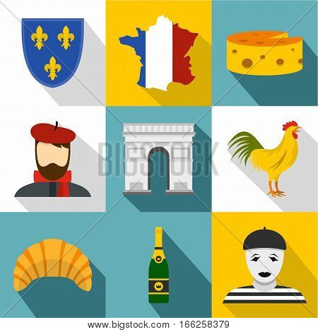 France icons set. Flat illustration of 9 France vector icons for web