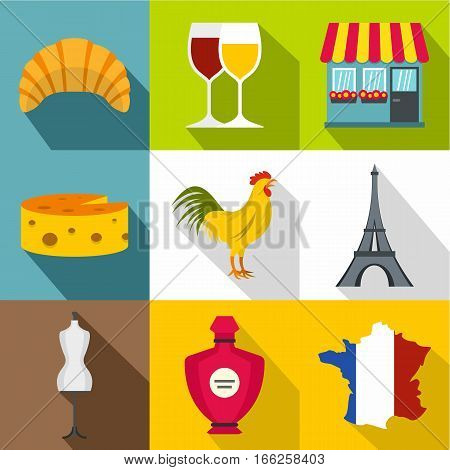 France Republic icons set. Flat illustration of 9 France Republic vector icons for web