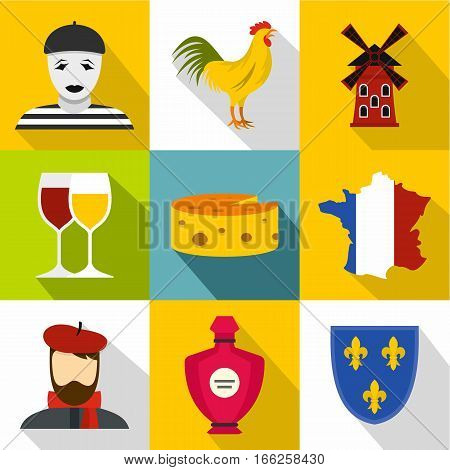 Stay in France icons set. Flat illustration of 9 stay in France vector icons for web