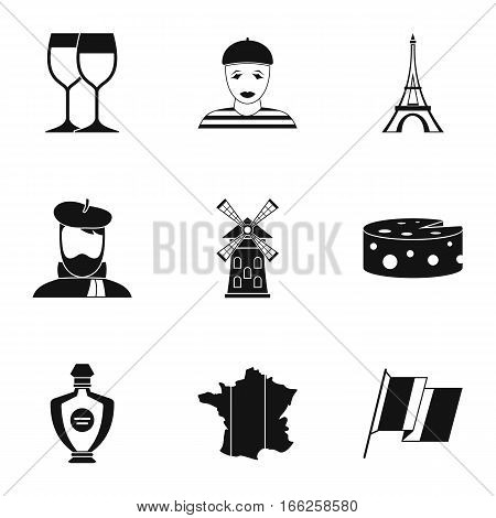 Stay in France icons set. Simple illustration of 9 stay in France vector icons for web