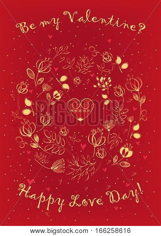 Be my Valentine? Happy Love Day! Floral round pattern with small hearts. Yellow graceful flowers with drawing effect. Heart with vintage decor in center of pattern. Red background