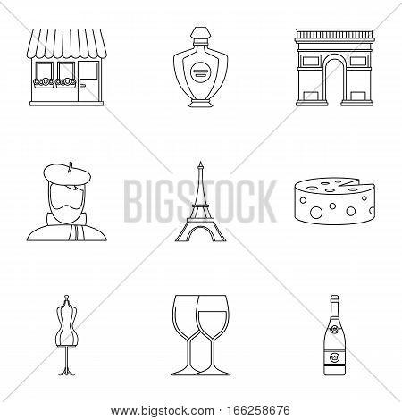 France Republic icons set. Outline illustration of 9 France Republic vector icons for web