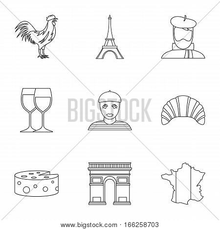 Stay in France icons set. Outline illustration of 9 stay in France vector icons for web
