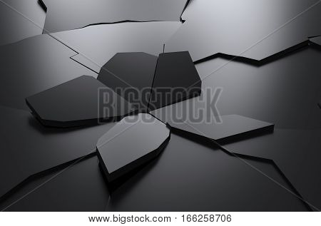 abstract rendering of cracked surface background with broken shape wall destruction explosion