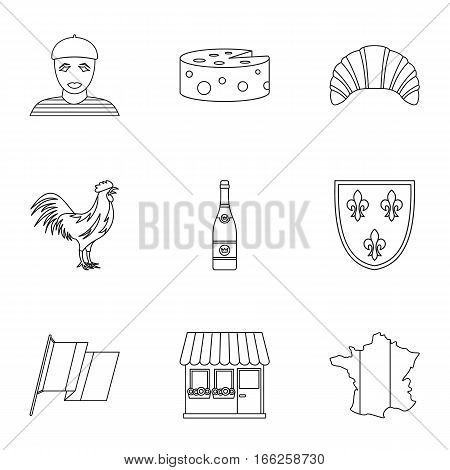Country of France icons set. Outline illustration of 9 country of France vector icons for web