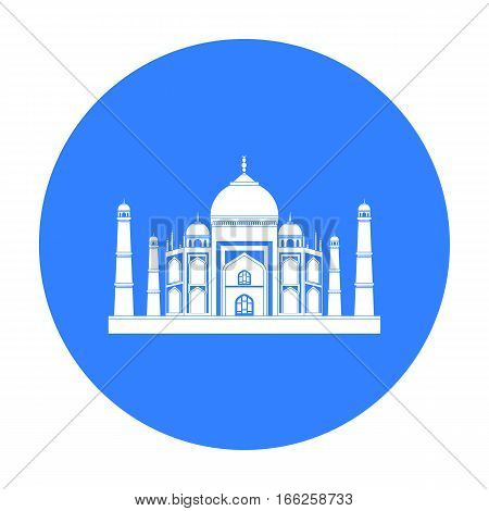 Taj Mahal icon in blue style isolated on white background. India symbol vector illustration.